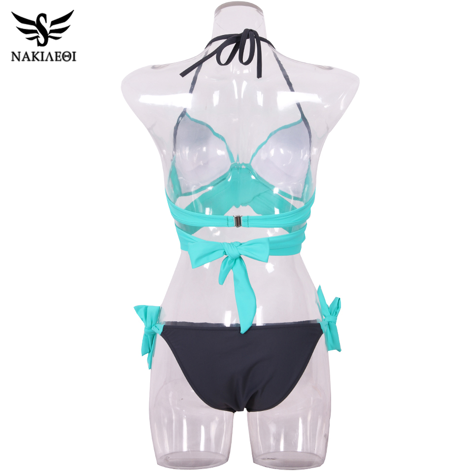 NAKIAEOI 19 Sexy Bikini Women Swimsuit Push Up Swimwear Criss Cross Bandage Halter Bikini Set Beach Bathing Suit Swim Wear XXL 64