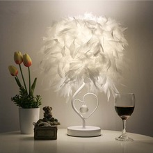 Bedside Reading Room Foyer Sitting Room Living Heart Shape White Feather Crystal Table Lamp Light With EU-Plug(China)