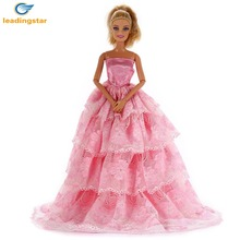 LeadingStar Beautiful 5 Layer Long Bobbi Doll Wedding Party Dress for Little Girls' Birtnday Gift(Only dress,Dolls not included)(China)