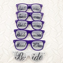 Bridal Bachelorette Party Favor Maid of honor Bridesmaids Purple Themed Wedding Party Sunglasses Set(China)