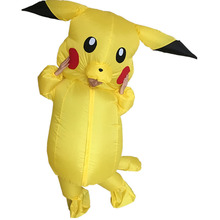 Inflatable Pikachu Yellow For Adult Fancy Dress Costume Jump Suit Pekmon Inflatable Cosplay Costume Pikachu Costomes For Women(China)