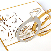 Hot 3D Paper Laser Cut Carving Diamond Ring Shape Greeting Cards Wedding Party Invitation Card Valentine's Day Propose Gift
