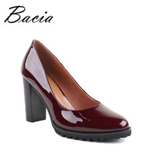 Bacia 100% Genui Leather Pumps Wine Red Handmade Shoes 9cm Heels Office Lady High Quality Cowhide Patent Leather Shoes VB019(China)