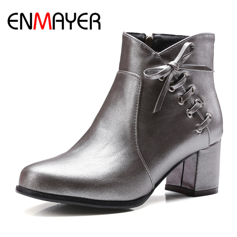 ENMAYER 4 Colors White Shoes Woman High Heels Zippers Bowties Charms Size 34-43 Motorcycle Boots Winter Ankle Boots for Women<br>