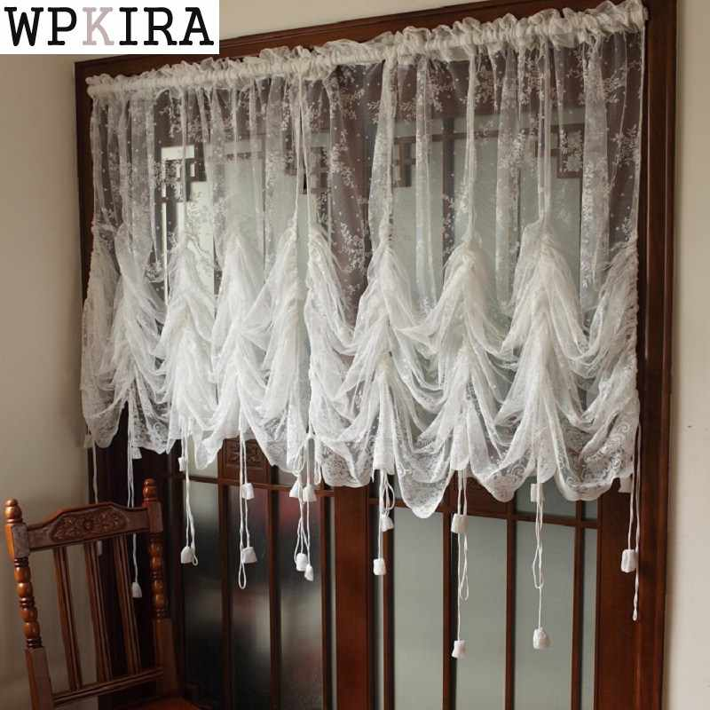 Small Fresh White Lace Adjustable Height Translucidus Pocket-rod Curtain Elegant Home Decorative Balloon Curtain A051