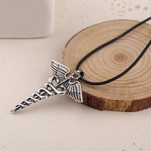 European and American blockbusters Percy Jackson Angle Wings Magic Wand vintage caduceus Pendant Necklace @ CX17
