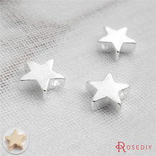 (30619)50PCS 8MM,height 2.8MM Silver Color Plated Brass Small Star Charms Pendants Diy Jewelry Findings Accessories wholesale