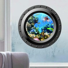 3d Wall Sticker Ocean View window Submarine Decals Porthole Graphics Sea Portal Peel stick Sea Cruise Wall Art kids Rooms Decor(China)