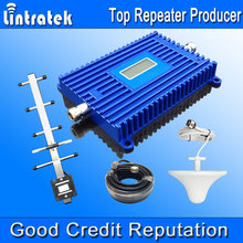 Lintratek LCD Display GSM 900MHz Phone Repeater 70dbi 900MHz Cell Phone Signal Booster GSM Antenna Mobile Amplifier Full Set @
