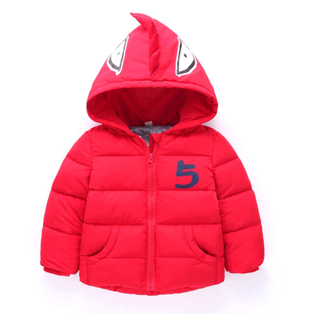 2019 cute fashion Children Winter Jacket Girl Coat Kids Thick Warm Long Hooded Down Dinosaur back thorns Coats 2 To 6 Years old