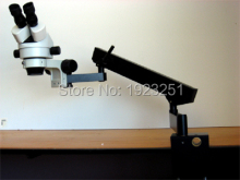 Free Shipping,Top 7X-90X Articulating arm Stand/flex arm  Stereo microscope +144pin LED ringlight for Electronics field