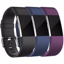 3 Pack Replacement Accessory Silicone Wristbands Watch band Strap for Fitbit Charge 2 HR, Large Small