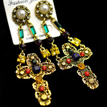 Vintage Baroque hanging earrings Double Chain Hinged Pearl Post Color Crystal Cross earrings for women pendientes brincos(China)