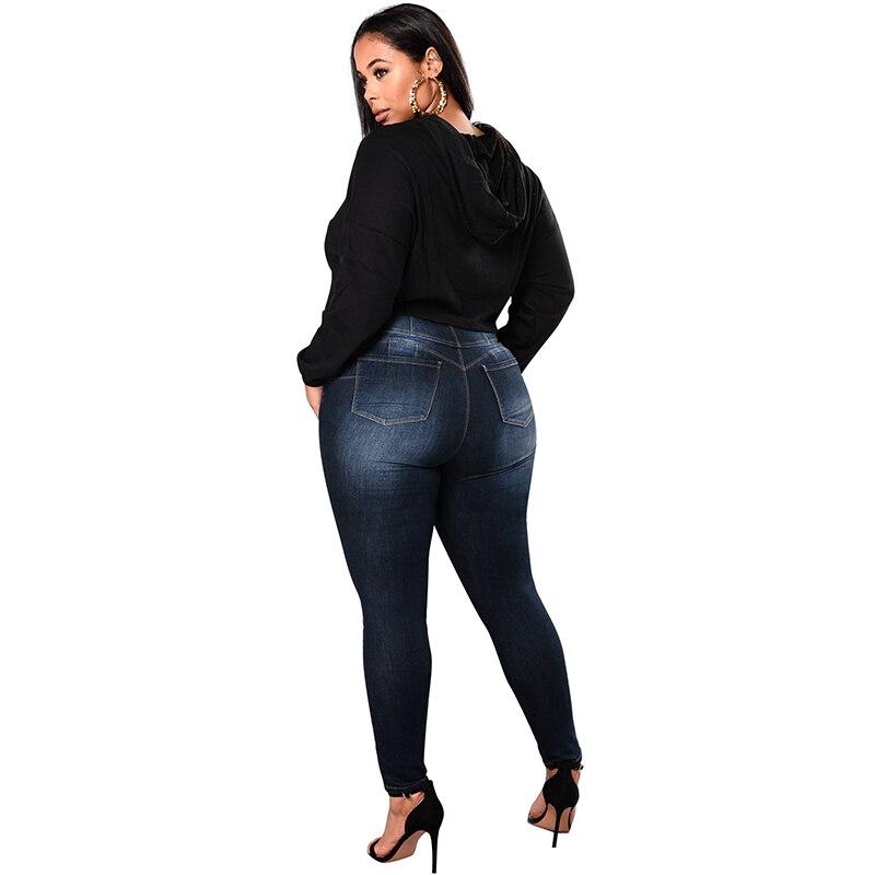 5b4378f7ac4fb Anself Mid Waist Femme Jeans Plus Size 5XL 4XL XXXL Pencil Pants ...