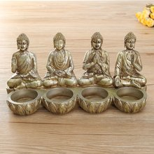KiWarm Retro Four Thai Buddha Resin Candle Holders Weeding Decoration Gifts Table Candlestick Home Decoration Crafts Ornaments(China)