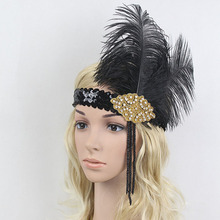 Vintage Feather Headdress Beads Sequin Feather Flapper Headband Women Ladies Party Headdress H9(China)