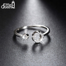 Effie Queen New Arrived Genuine 925 Silver Paved Zero Open Cuff Adjustable Finger Rings For Women BR06
