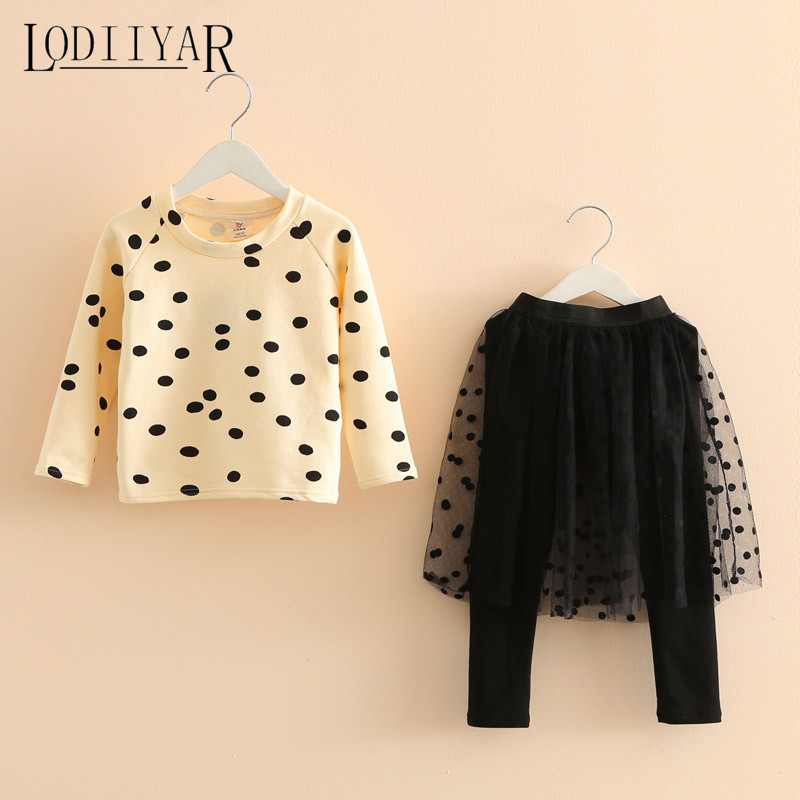 Baby Girls Clothing Set Dot O-neck Casual Autumn Winter Pullover + Yarn Culotte Pants Long Sleeve Kids Clothes Outerwear <br><br>Aliexpress