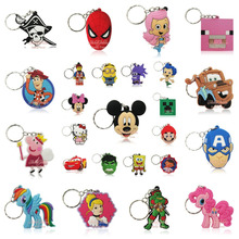 1PCS Minions Toy Story Princess SpongeBob PVC Cartoon Pendants Charms For Keychains Keyrings Necklace Cellphone Bags Accessories