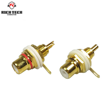 8pcs Gold Plated RCA connector Binding Post RCA Adapter Panel Mount Chassis Audio Socket Bulkhead with Nut Solder CUP terminal(China)