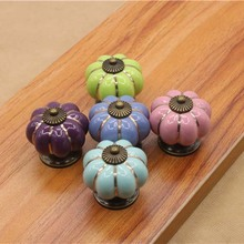 Modern kitchen Pumpkins Handles Pull Drawer Knobs Coloured Porcelain Cupboard Drawer dresser knobs Pull Handle cartoon knob(China)