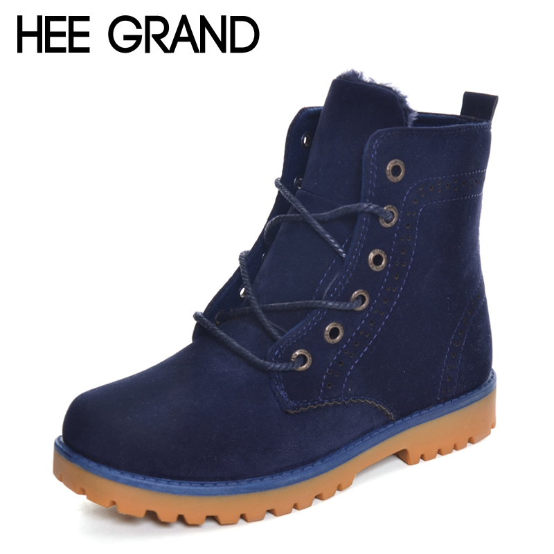 HEE GRAND New Arrival Winter Snow Boots Couple shoes Brogues Boots Woman Fashion Shoes Large Size 35-44 XWX6198<br>