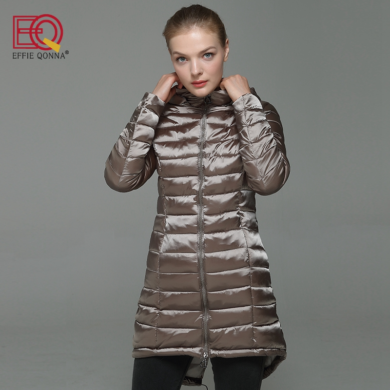 EFFIE QONNA 2017 New Fashion Winter Long Sleeve Khaki Hooded Parkas Ladies Wine Red Slimming Female Fall outwear Long Coats PlusÎäåæäà è àêñåññóàðû<br><br>