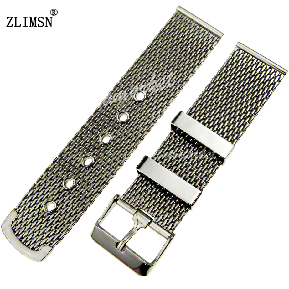 ZLIMSN Mesh Band Watch MenS Thick Watch Band strap Stainless steel Bracelet with pin Buckle 18mm  20mm  22mm  24mm 26mm<br><br>Aliexpress