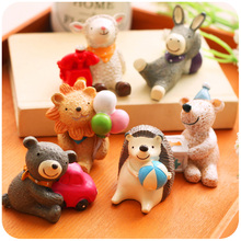 6pcs/lot Home Decoration Accessories Kawaii Animal Mini Desktop Decoration Resin Elephant Dog Figurines Small Decorative Crafts