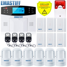 Russian/French/Spanish/ English Voice Auto Dialer Wireless GSM Home Burglar Security Alarm System Built-in Antenna PIR Detector(China)