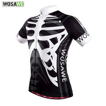 WOSAWE Quick Dry Cycling Jersey Outdoor Sports Bicicleta Jacket Bicycle Bike Skeleton Short Sleeve Shirt Ropa Ciclismo Clothing(China)