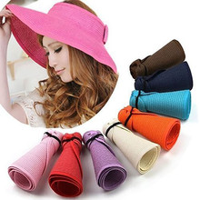 summer ladies sun hats straw floppy foldable roll up wide brim sun visor beach cap chapeau femme womens hats and caps