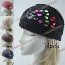 women knitted headbands peacock Diamond crystal crochet headwrap winter ear warmer hairband girl headbands handmade