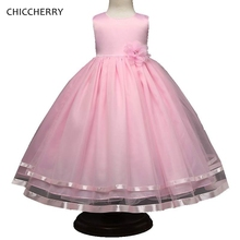Pink Summer Children Evening Dresses Bowknot Belt Flower Girl Dresses For Weddings Robe Fille Mariage Party Ball Gown Outfits