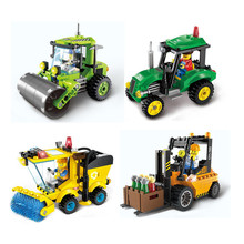New Arrival City Road Sweeper Forklift Roller DIY Models Building Blocks Kit Kids Educational Puzzle Toys Wholesale
