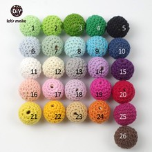 Let's Make baby teether Crochet beads 80pcs/lot 16mm (0.62 inch)  wooden round crocheted bead
