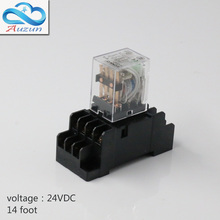 10 pieces hh54P small DC24V relay with intermediate relay lamp base current is 5 a silver contact fourteen feet(China)