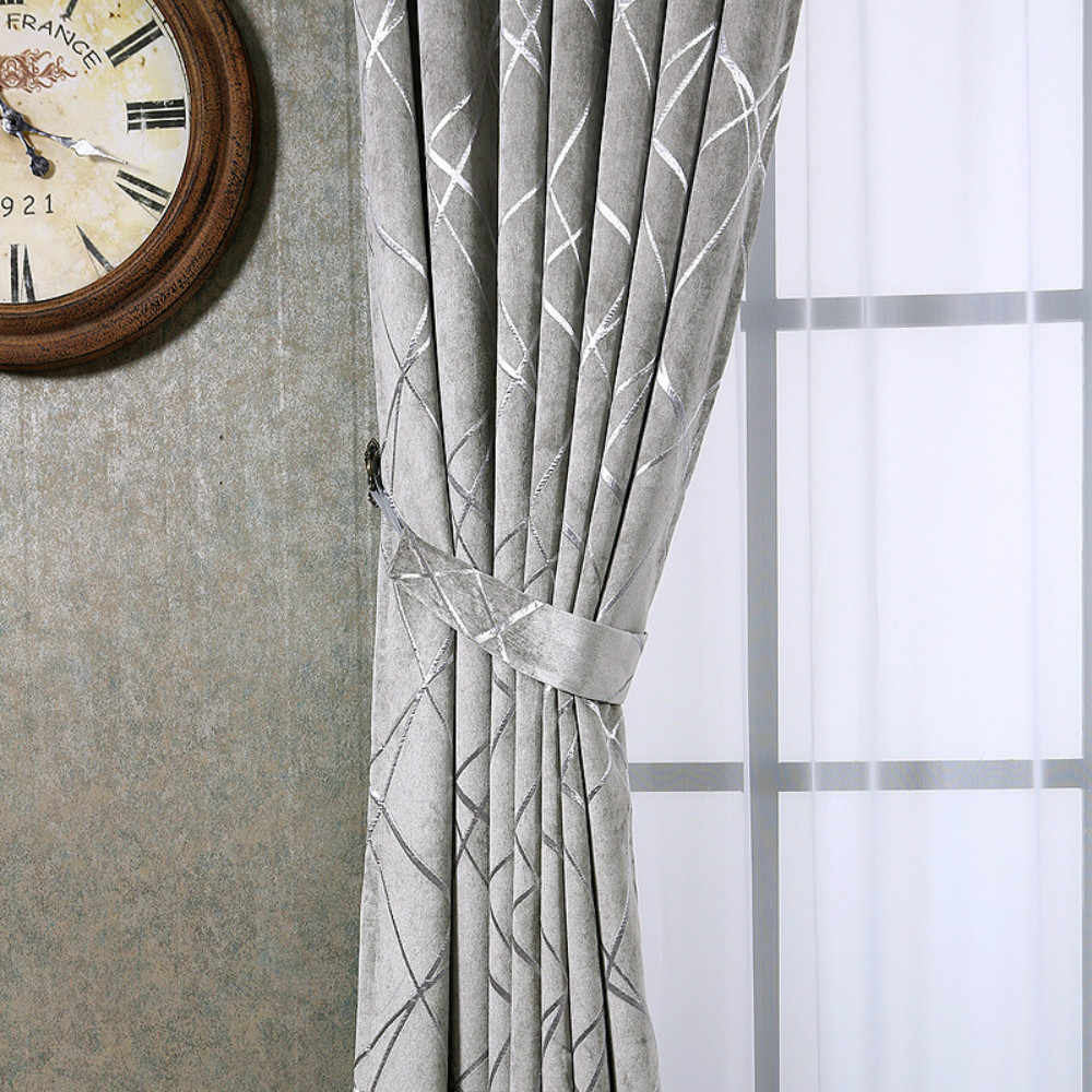 Chenille Jacquard Silver Curtains for Living Room Modern Luxury Blind  Fabric Grey Geometric Lines Drape Bedroom Window Treatment