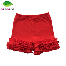 Cotton Baby Ruffle Shorts Maroon Toddler Girls Shorts Kids Knit Icing Baby Shorts for girl Clothes spring/Summer Shorties kids