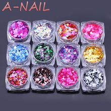 12jars/set Nail Art Glitter ROUND Shapes Confetti Sequins Acrylic Tips UV Gel A Style 1mm 2mm 3mm Manicure 3D Shiny Ultrathin