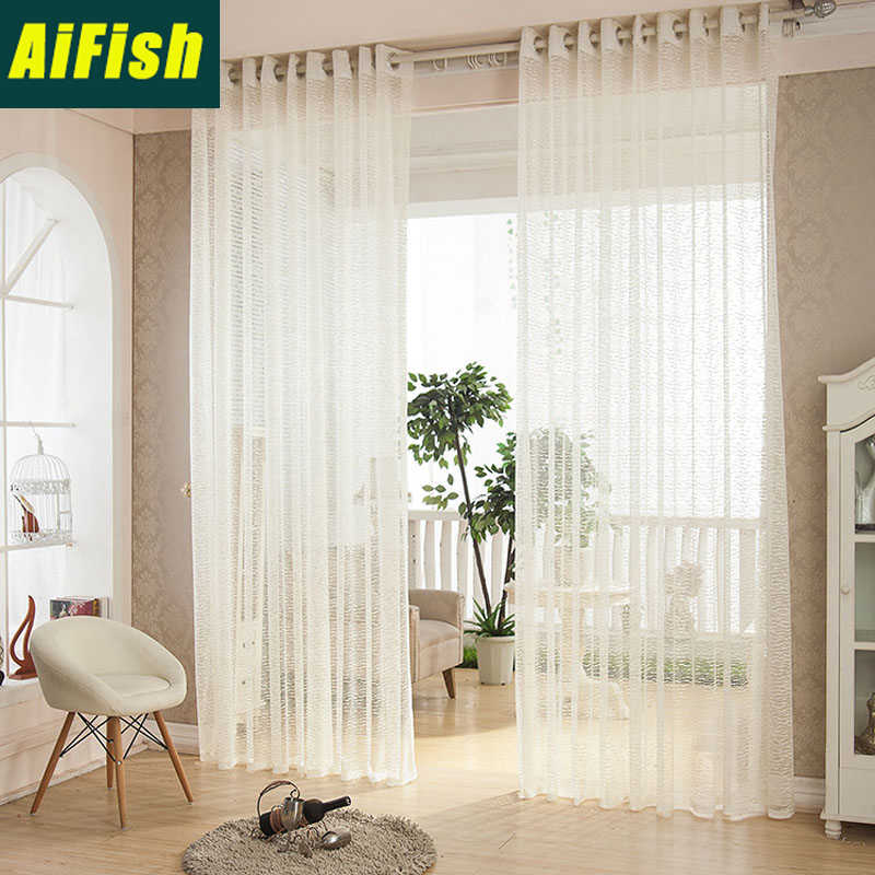 European Style Curtains Transparent Window Tulle Embroidered Ice Cream Waves For Living Room Pure White Color Voile wp107#30