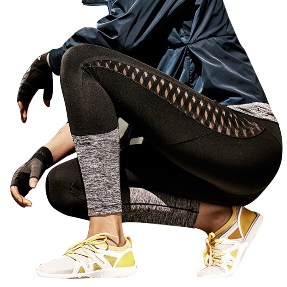 Women's Fashion Workout Leggings Fitness Sexy Hallow Patchwork Push Pants Fitness Trousers Ropa Deporte Mujer #VE