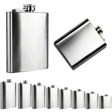 4/5/6/7/8/9/10/18 Oz Stainless Steel Pocket Hip Flask Alcohol Whiskey Liquor Screw Cap portable wine pot flagon Oct17