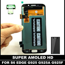 100% Tested AMOLED Phone LCDs For Samsung Galaxy S6 Edge G925F G925A G925P LCD Display Screen with Touch Digitizer Sticker(China)