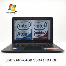 1920*1080 HD Screen NEW 8GB RAM +64GB SSD+1TB HDD 14 inch win7 Laptop computer PC In-tel Celeron JI900,2.0GHZ Quad,8gb laptop