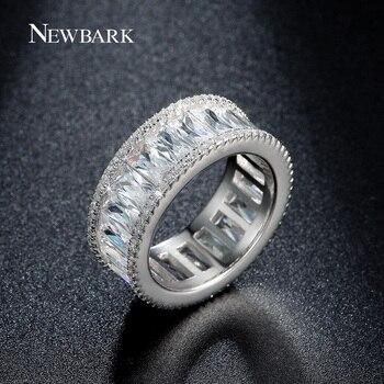 NEWBARK Canal Anneau Minimaliste Anneaux Pour Les Femmes Or Blanc Plaqué Minuscule CZ Diamant Anillos Mujer Femmes Bijoux Bijoux Femme