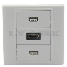 HDMI Dual USB wall plate with female to female connector(China)