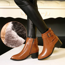 2017 European Style Black Brown Genuine Leather Boots Women Buckle Short Martin Boots Pointed Toe High Heel Ankle Boot Shoe Lady