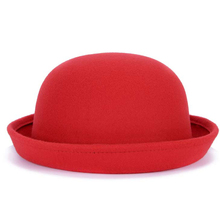 [Dexing]2017 lovely Red spring autumn vintage Dome fedoras womens hats men felt hat church hats chapeau femme(China)