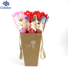 Single bear rose soap flower bouquet multicolor cute doll gift soap flowers romantic couples For Valentine's Day&Wedding gifts